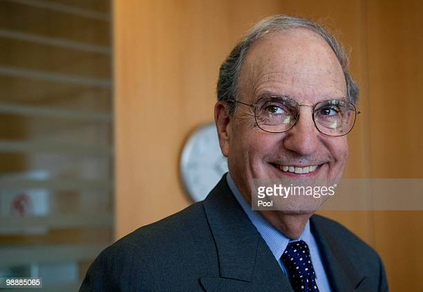 S Mideast envoy George Mitchell visits the Israeli Defense Minister on May 2010 in Tel Aviv Israel The Palestinian president Mahmoud Abbas is...