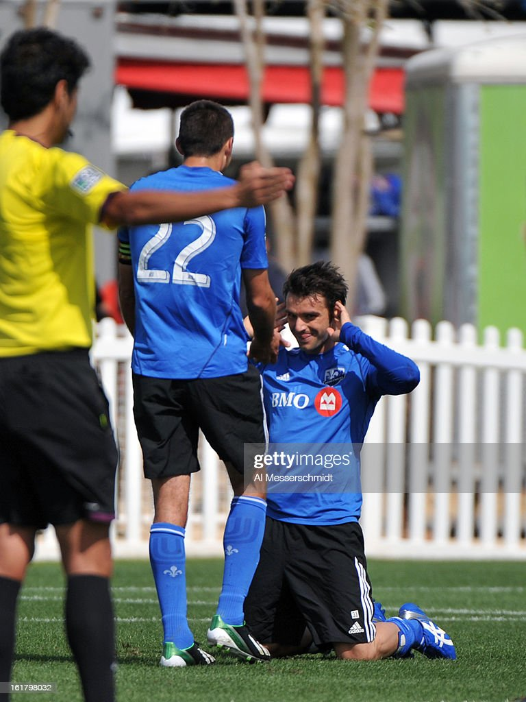 Midfielder Andrea Pisanu #31 of the Montreal Impact celebrates after a first-half goal against DC United February 16, 2013 in the third round of the Disney Pro Soccer Classic in Orlando, Florida.