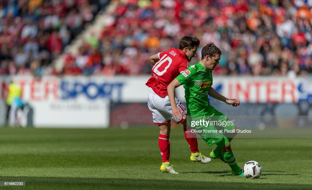 Midfielder Bojan Krkic (10) of FSV Mainz 05 and Defender Andreas Christensen (3) of Borussia Moenchengladbach compete for the ball during the 1. Bundesliga match between 1. FSV Mainz 05 and Borussia Moenchengladbach at the Opel Arena on April 29, 2017 in Mainz, Germany.