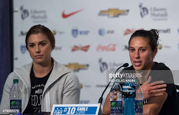US midfielder Carli Lloyd and teammate Alex Morgan hold a press conference in Vancouver on July 3 two days before the 2015 FIFA Women's World Cup...
