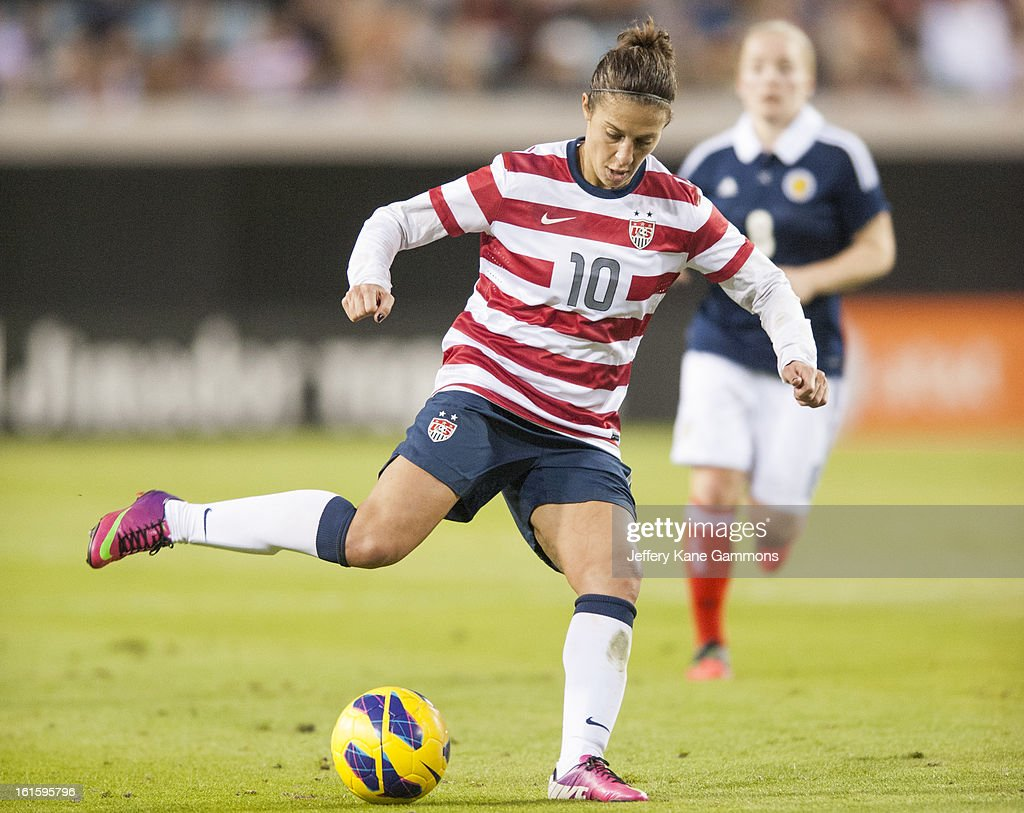 Midfielder Carli Lloyd #10 of the United States winds up for a kick during the game against Scotland at EverBank Field on February 9, 2013 in Jacksonville, Florida.