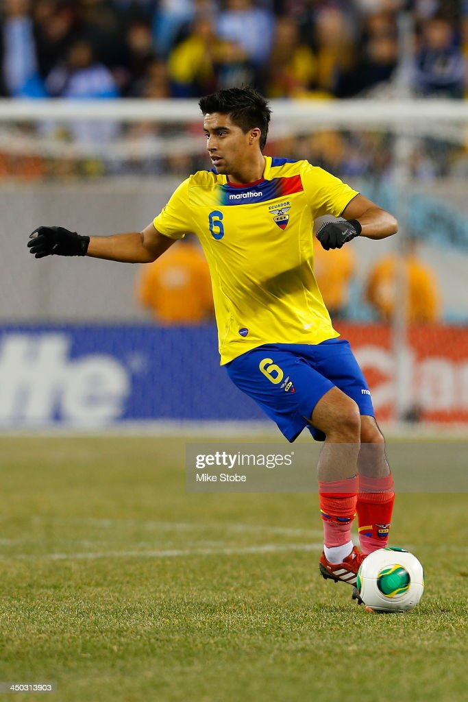 midfielder Christian Noboa #6 of Ecuador in action against Argentina during a friendly match at MetLife Stadium on November 15, 2013 in East Rutherford, New Jersey. Ecuador play to Argentina 0-0 tie