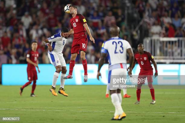 USA midfielder Christian Pulisic goes up for a header during the World Cup Qualifying soccer match between the US Mens National Team and Panama on...