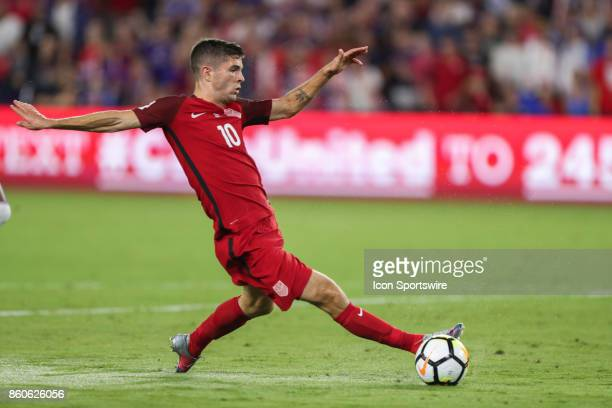 USA midfielder Christian Pulisic prepares to take a shot on goal during the World Cup Qualifying soccer match between the US Mens National Team and...