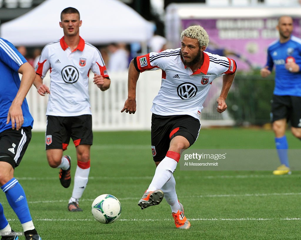 Midfielder Collen Warner #18 of the Montreal Impact runs upfield against DC United February 16, 2013 in the third round of the Disney Pro Soccer Classic in Orlando, Florida.