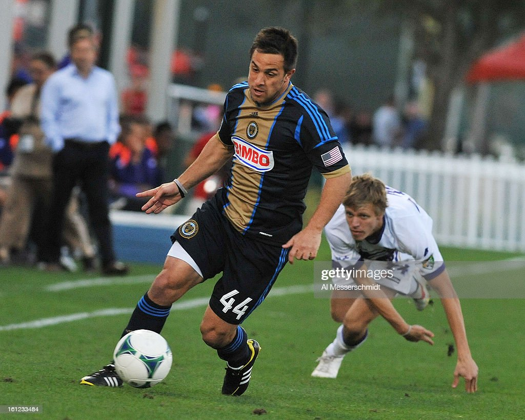 Midfielder Danny Cruz #44 of the Philadelphia Union runs upfield against Orlando City February 9, 2013 in the first round of the Disney Pro Soccer Classic in Orlando, Florida.