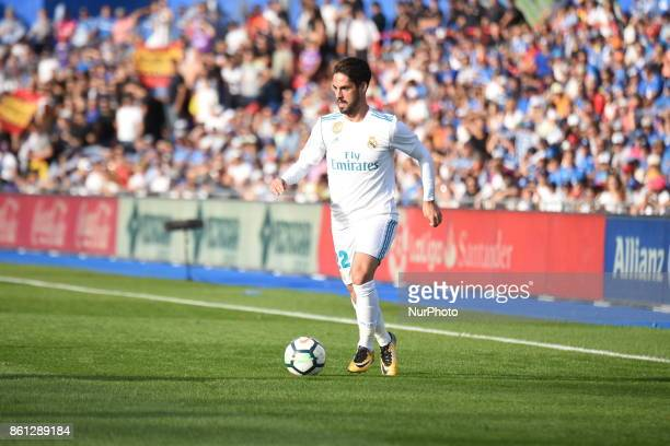 Midfielder Isco of Real Madrid in action during the Spanish league football match Getafe CF vs Real Madrid CF at the Col Alfonso Perez stadium in...