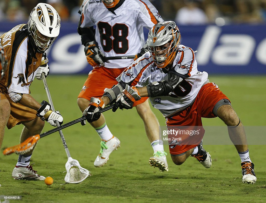 Midfielder Jeremy Sieverts #20 of the Denver Outlaws dives for the ball during the 2014 Major League Lacrosse Championship Game against the Rochester Rattlers at Fifth Third Bank Stadium on August 23, 2014 in Kennesaw, Georgia.