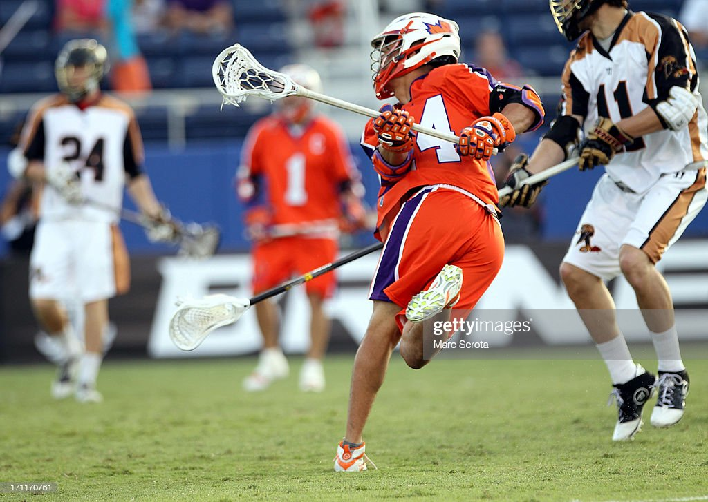 Midfielder Jeremy Thompson #74 of the Hamilton Nationals shoots against the Rochester Rattlers at FAU Stadium on June 22, 2013 in Boca Raton, Florida. The Nationals defeated the Rattlers 17-11.