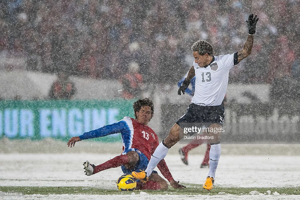 Midfielder <a gi-track='captionPersonalityLinkClicked' href=/galleries/search?phrase=Jermaine+Jones+-+Soccer+Player&family=editorial&specificpeople=12906336 ng-click='$event.stopPropagation()'>Jermaine Jones</a> #13 of the United States and midfielder Ariel Rodriguez #13 of Costa Rica battle for the ball during a FIFA 2014 World Cup Qualifier match between Costa Rica and United States at Dick's Sporting Goods Park on March 22, 2013 in Commerce City, Colorado.