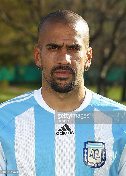 Midfielder Juan Sebastian Veron of Argentina's National team for the 2010 FIFA World Cup South Africa poses during a photo session on May 26 2010 in...