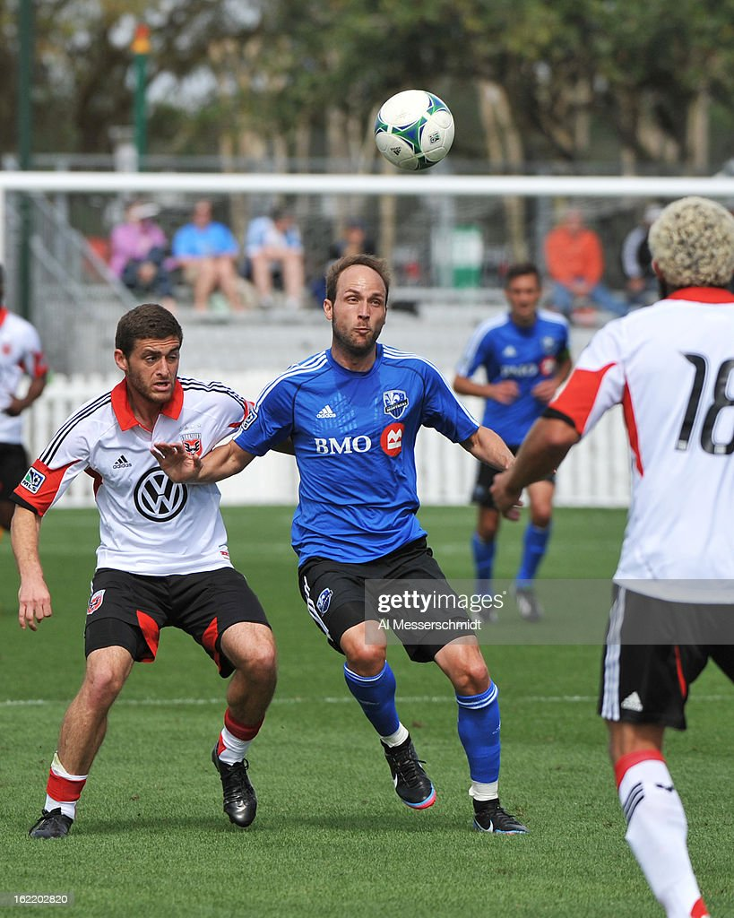 Midfielder <a gi-track='captionPersonalityLinkClicked' href=/galleries/search?phrase=Justin+Mapp&family=editorial&specificpeople=244047 ng-click='$event.stopPropagation()'>Justin Mapp</a> #21 of the Montreal Impact looks for a pass against DC United February 16, 2013 in the third round of the Disney Pro Soccer Classic in Orlando, Florida.