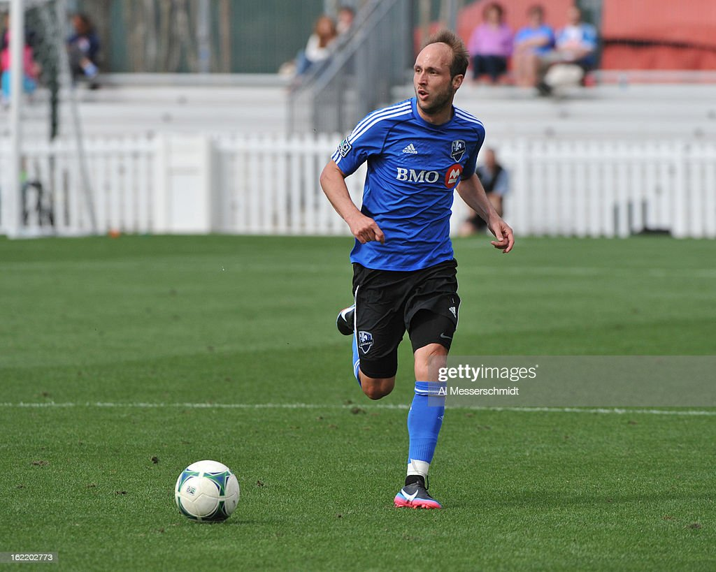 Midfielder Justin Mapp of the Montreal Impact runs upfield against DC United February 16 2013 in the third round of the Disney Pro Soccer Classic in...