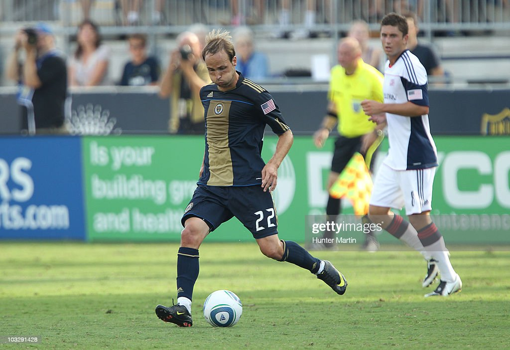 Midfielder Justin Mapp of the Philadelphia Union in action during a game against the New England Revolution at PPL Park on July 31 2010 in Chester...