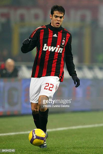Midfielder Kaka of AC Milan in action during the Serie A match between AC Milan v ACF Fiorentina held at Stadio San Siro on January 17 2009 in Milan...