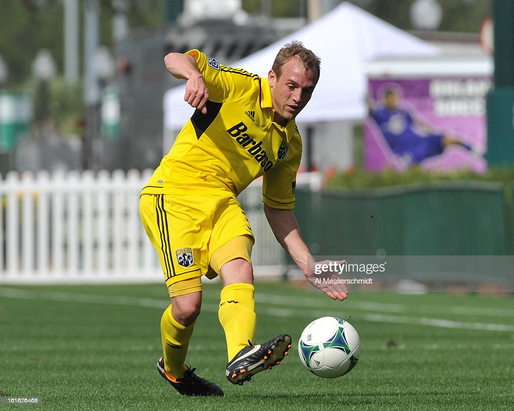 Midfielder Kyle Hyland #31 of the Columbus Crew passes upfield against the Philadelpia Union February 13, 2013 in the second round of the Disney Pro Soccer Classic in Orlando, Florida.