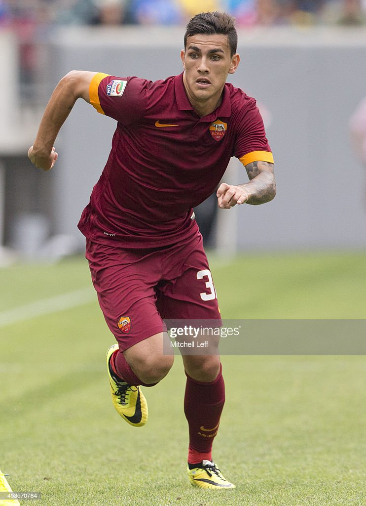 Midfielder <a gi-track='captionPersonalityLinkClicked' href=/galleries/search?phrase=Leandro+Paredes&family=editorial&specificpeople=7626324 ng-click='$event.stopPropagation()'>Leandro Paredes</a> #32 of AS Roma participates in the match against FC Internazionale Milano during the International Champions Cup on August 2, 2014 at Lincoln Financial Field in Philadelphia, Pennsylvania.