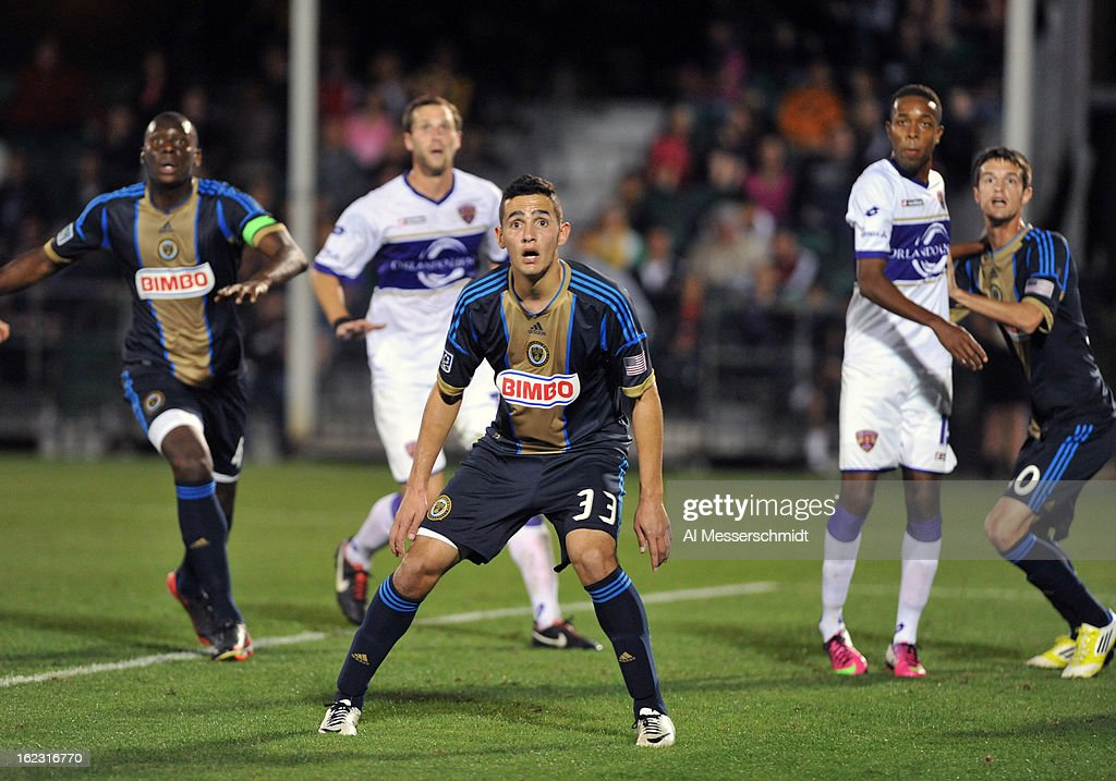 Midfielder Leo Fernandes #33 of the Philadelphia Union looks for a corner kick against Orlando City February 9, 2013 in the first round of the Disney Pro Soccer Classic in Orlando, Florida.