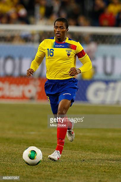 midfielder Luis Antonio Valencia of Ecuador in action against Argentina during a friendly match at MetLife Stadium on November 15 2013 in East...