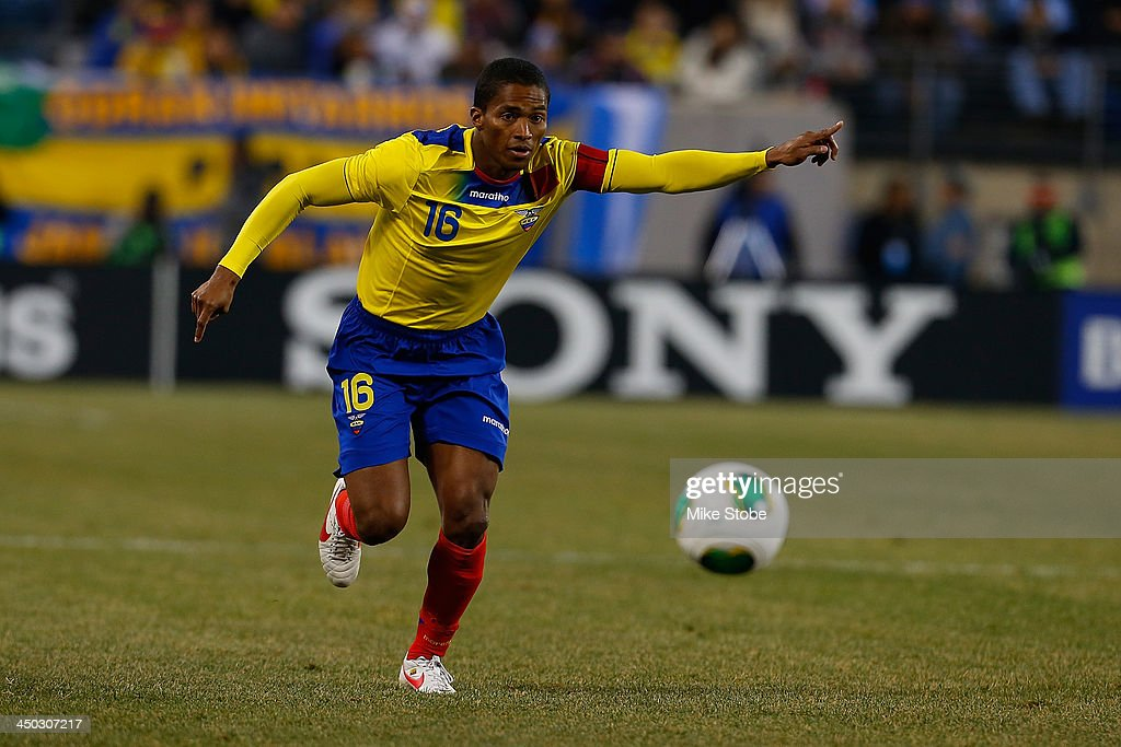 midfielder Luis Antonio Valencia #16 of Ecuador in action against Argentina during a friendly match at MetLife Stadium on November 15, 2013 in East Rutherford, New Jersey. Ecuador play to Argentina 0-0 tie