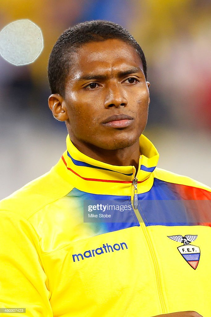 midfielder Luis <a gi-track='captionPersonalityLinkClicked' href=/galleries/search?phrase=Antonio+Valencia&family=editorial&specificpeople=543830 ng-click='$event.stopPropagation()'>Antonio Valencia</a> #16 of Ecuador looks on against Argentina during a friendly match at MetLife Stadium on November 15, 2013 in East Rutherford, New Jersey. Ecuador play to Argentina 0-0 tie