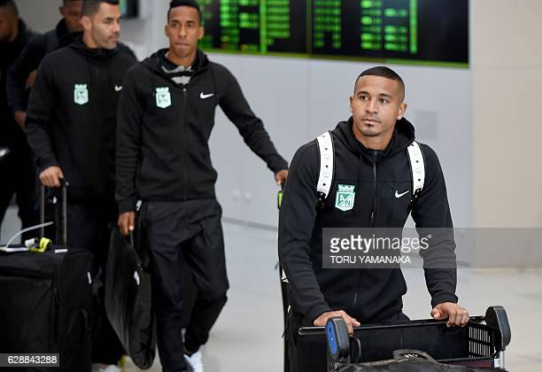Midfielder Macnelly Torres and other team members of Colombian football club Atletico Nacional arrive at Kansai Airport in Izumisano Osaka prefecture...