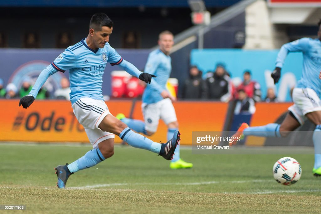 Midfielder Maximiliano Moralez #10 of New York City FC scores a goal during the match against D.C. United at Yankee Stadium on March 12, 2017 in the Bronx borough of New York City. New York City FC deafeats D.C. United 4-0.