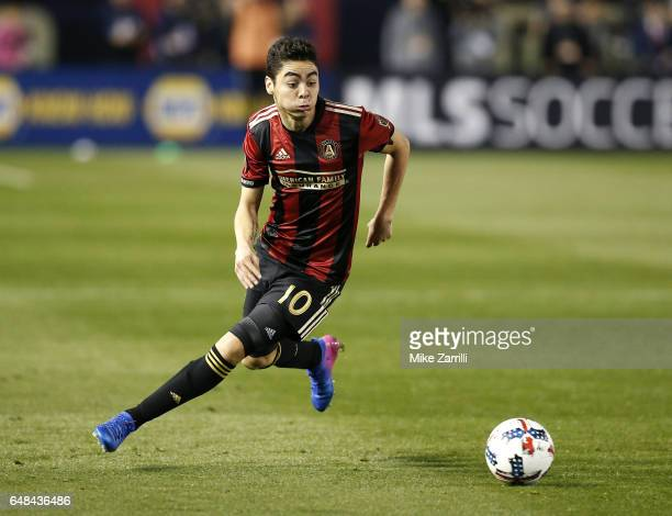 Midfielder Miguel Almiron of Atlanta United dribbles during the game against the New York Red Bulls at Bobby Dodd Stadium on March 5 2017 in Atlanta...