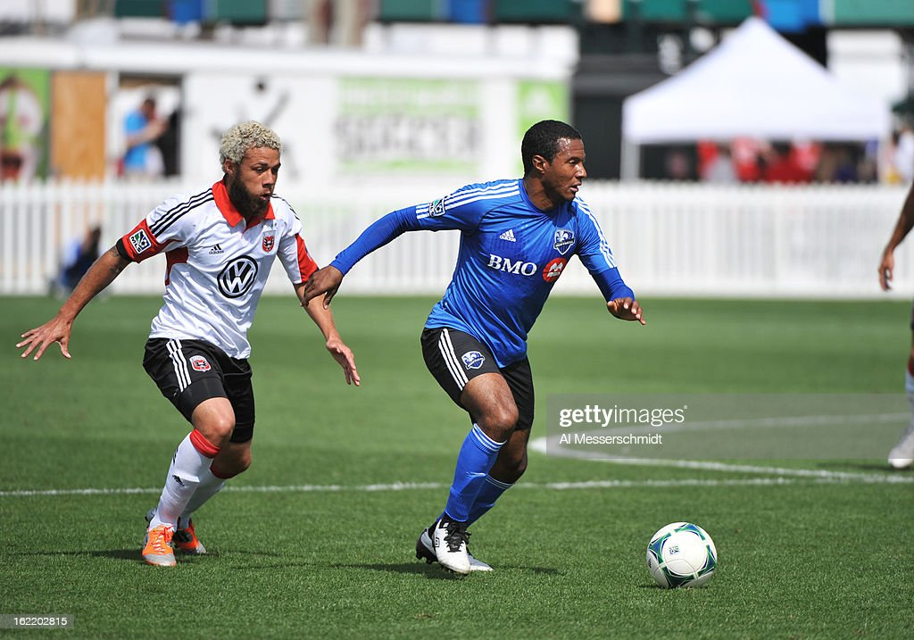Midfielder Patrice Bermier #8 of the Montreal Impact runs up field against DC United February 16, 2013 in the third round of the Disney Pro Soccer Classic in Orlando, Florida.