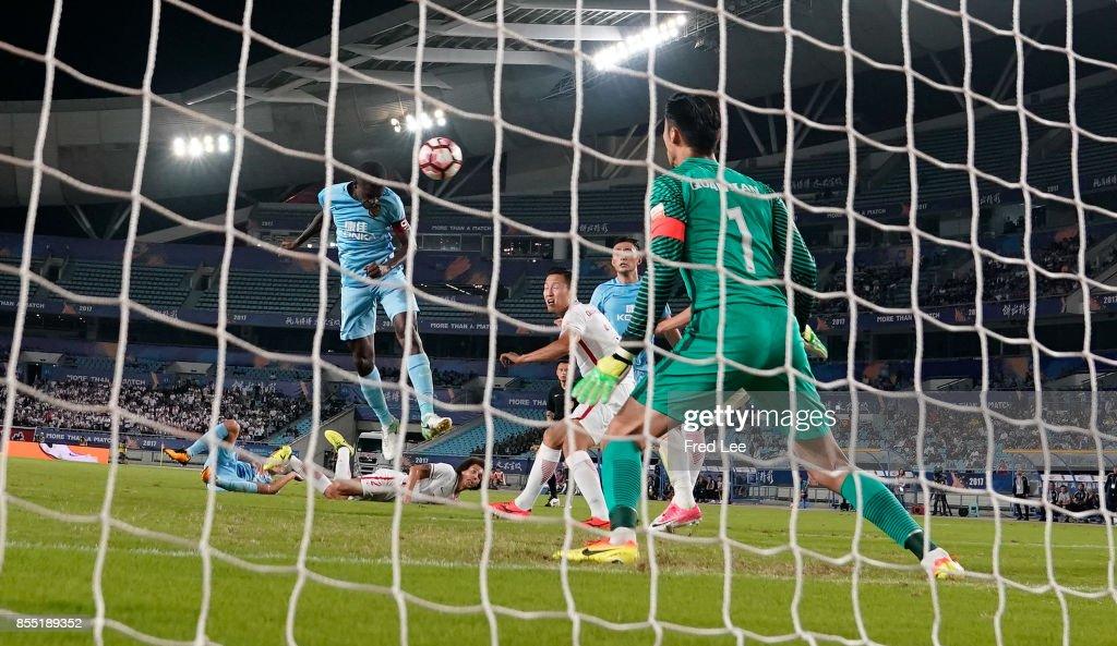 Midfielder Ramires Santos of Jiangsu FC a goal during the China Super League match between Jiangsu FC and Tianjin Quanjian FC at Nanjing Olympic Stadium on SEPTEMBER 28, 2017 in Nanjing, China.