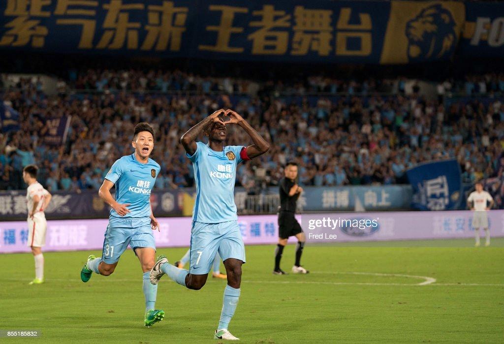 Midfielder Ramires Santos of Jiangsu FC celebrating his goal during the China Super League match between Jiangsu FC and Tianjin Quanjian FC at Nanjing Olympic Stadium on September 28, 2017 in Nanjing, China.