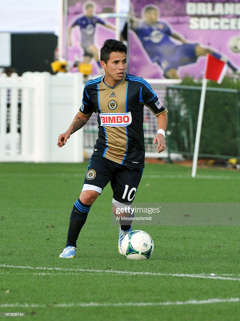 Midfielder Roger Torres #10 of the Philadelphia Union runs upfield against Toronto FC in the third round of the Disney Pro Soccer Classic at ESPN Wide World of Sports Complex on February 16, 2013 in Orlando, Florida.