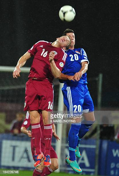Midfielder Sandro Wieser of Lichtenstein vies with forward Artjoms Rudnevs of Latvia during the FIFA 2014 World Cup qualifying football match Latvia...