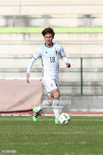 Midfielder Takumi Minamino of Japan during the match between Japan v Mexico U23 Friendly International at Estadio Municipal de Rio Maior on March 25...