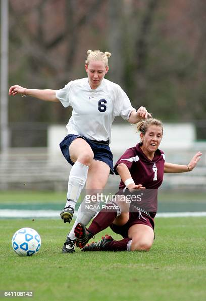 Midfielder Tera Anderson of Puget Sound and forward Jennifer Binger of Wheaton battle for the ball during the Division III Women's Soccer...