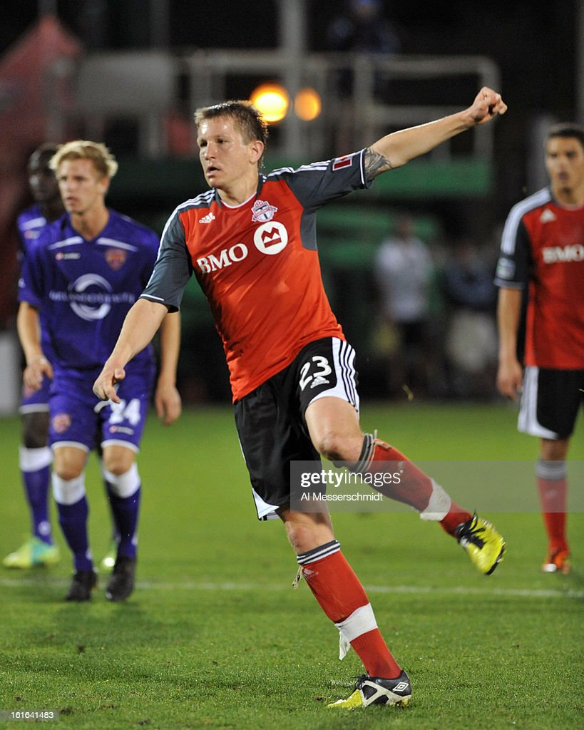 Midfielder Terry Dunfield #23 of Toronto FC scores on a second-half penalty kick against Orlando City February 13, 2013 in the second round of the Disney Pro Soccer Classic in Orlando, Florida.