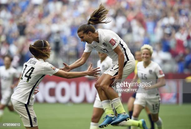 USA midfielder Tobin Heath celebrates her goal during the final football match between USA and Japan during their 2015 FIFA Women's World Cup at the...
