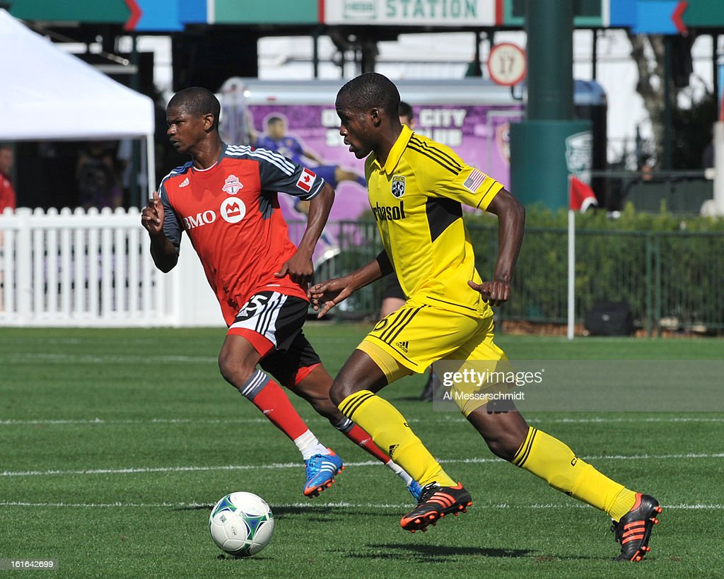 Midfielder Tony Tchani #6 of the Columbus Crew runs upfield against Toronto FC February 9, 2013 in the first round of the Disney Pro Soccer Classic in Orlando, Florida. Columbus won 1 - 0.