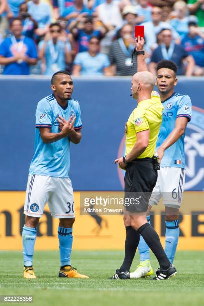 Midfielder Yangel Herrera of New York City FC receives a red card during the match against Chicago Fire at Yankee Stadium on July 22 2017 in New York...