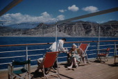 A midmorning snack on the cruise ship 'Agamemnon' anchored off Agia Galini in southern Crete Greece 12th April 1959