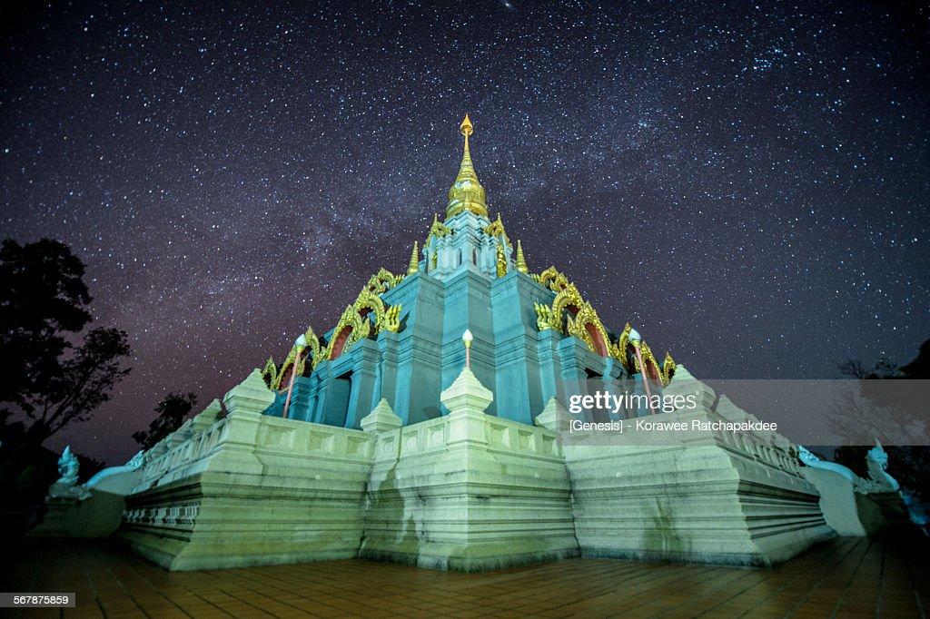 Midnight sky with the pagoda