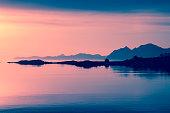 colorful ocean sunset at lofoten islands, Norway