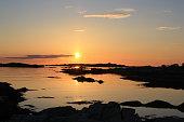Midnight sun in Lofoten at summer