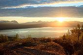 Midnight Sun over Ofotfjord, Narvik, Norway