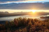 """Midnight Sun over Ofotfjord, Narvik, Norway"""