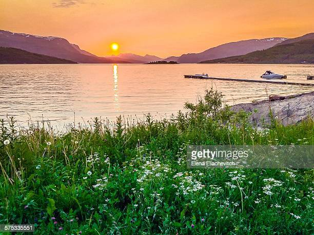 Midnight Sun over Fjord, Norway
