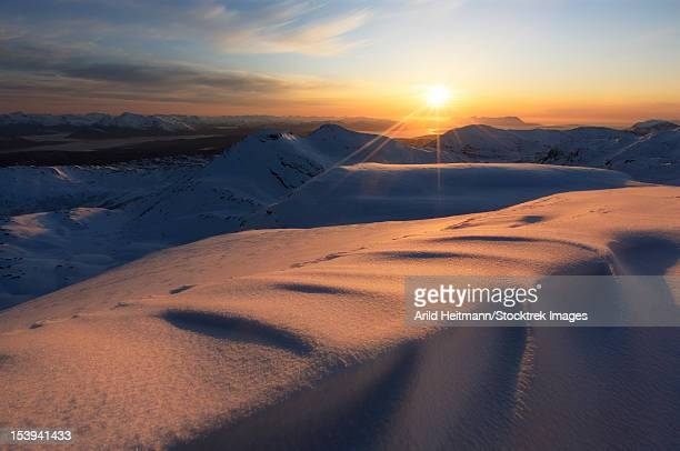 Midnight Sun over Lilletinden Mountain, Nordland, Norway.