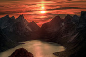 Norwegian landscape with the sunset behind the mountains