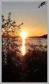 Midnight sun at the northern polar circle (Arctic Circle, Sweden)