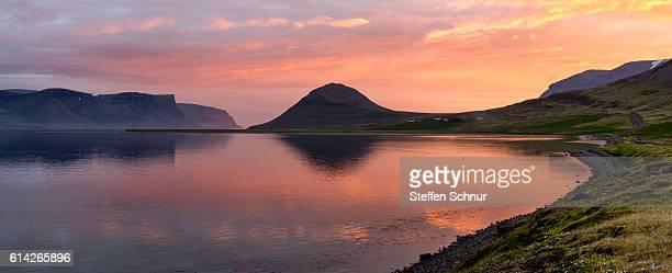 midnight sunset Iceland panorama